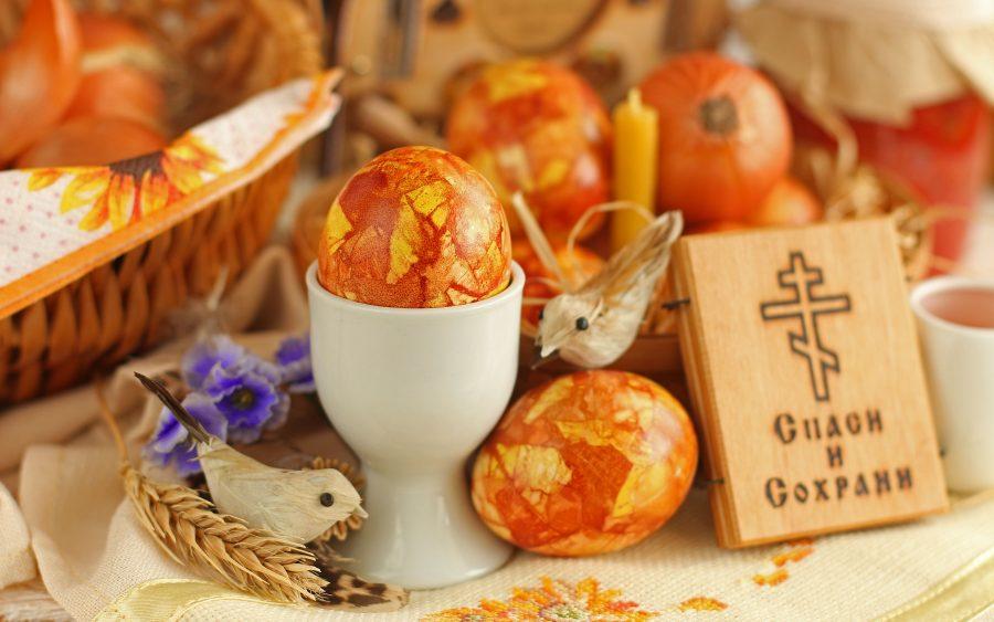 Крашеные яйца на Пасху «Янтарные»