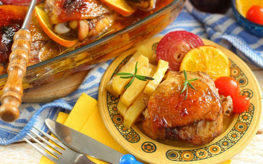 Курица в красном вине в духовке